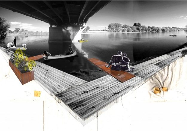 Example of possible river-front trail development