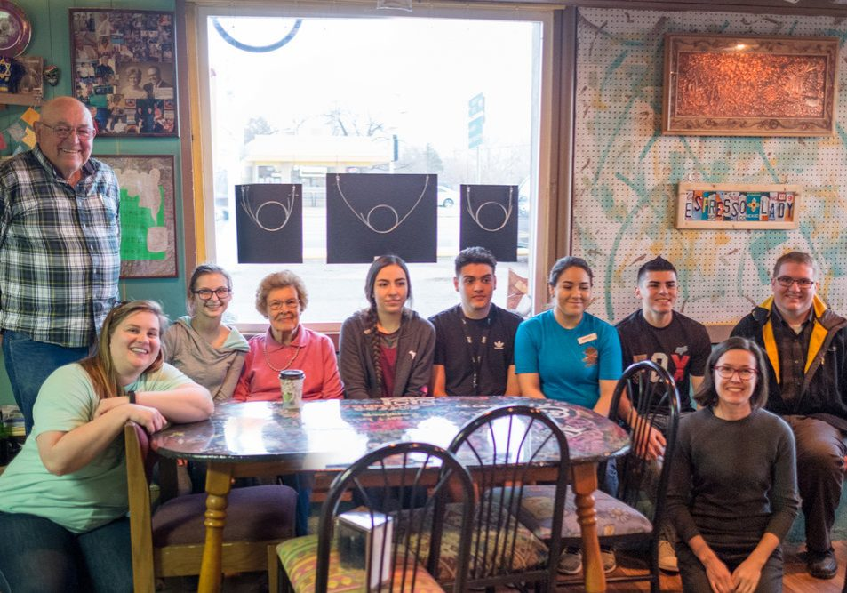 Some of the participants in Senior Spotlight, back row, from left: Coombs Hall, Lindsey McFarlane, Gladys May, Daniela Mendez, Roman Medina, Maribel Escalante, Freddy Escalante, and teacher Craig Gowans. Front: Maria Sykes (Epicenter Director) and Jamie Horter (Frontier Fellow). Not pictured: student Marcela Soto and interviewed seniors Dean and Hilda King, Ardon and Carolyn Sherril, and Catherine Kane